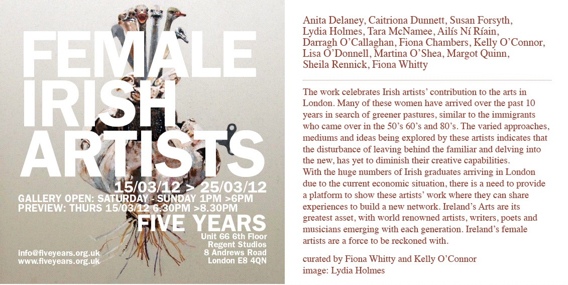 Five years gallery, Female Irish Artists